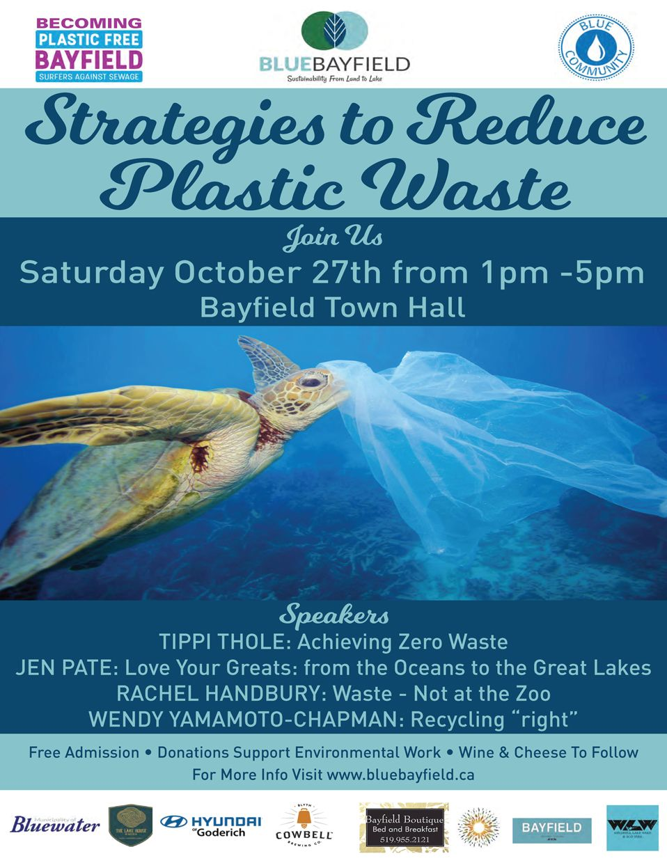 Strategies to Reduce Plastic Waste on Saturday, October 27, 2018 at Bayfield Town Hall from 1 p.m. to 5 p.m.
