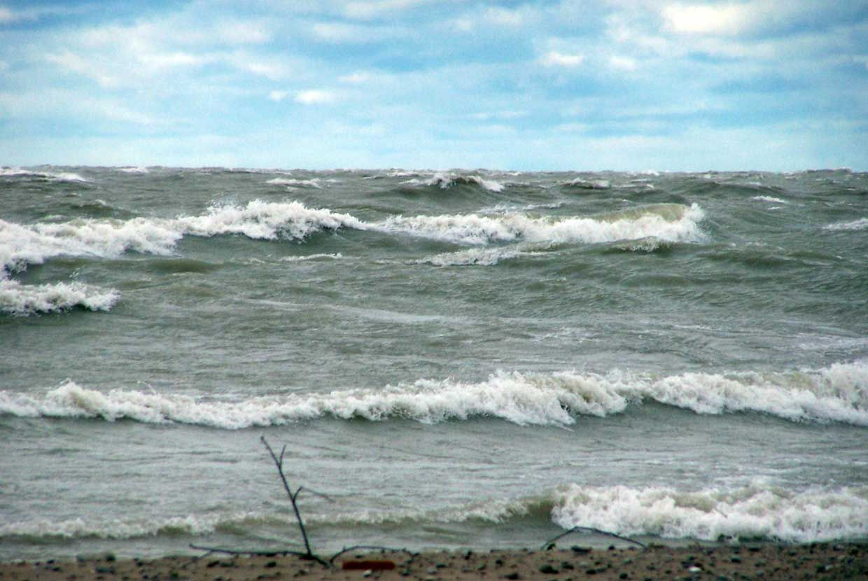 Lake Huron is not at record levels - but water levels are above average, and that can add to erosion.